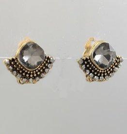 Golden Stella Diamond Shape & Sector Deco Earrings Burnt Gold Black