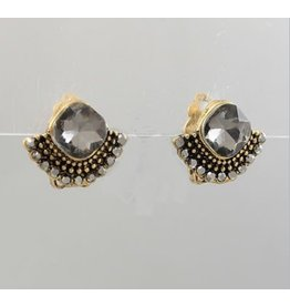 Golden Stella Diamond Shape & Sector Deco Earrings Burnt Gold Black
