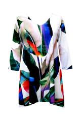Valentina Signa 3/4 Sleeve Lycra Tunic Watercolor Tulip