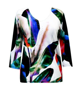 Valentina Signa 3/4 Sleeve Lycra Top Watercolor Tulip