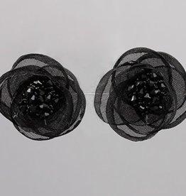 Golden Stella Mesh Flower Clip Earrings Black