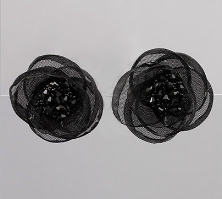 Golden Stella Mesh Flower Clip Earrings Black