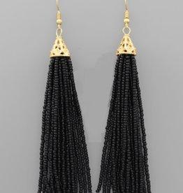 Golden Stella 3 in Long Seed Bead Tassel Earrings Black