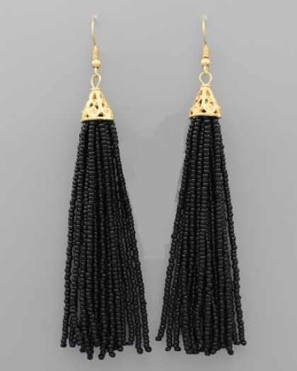 Golden Stella 3 in Long Seed Bead Tassel Earrings Black