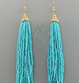Golden Stella 3 in Long Seed Bead Tassel Earrings Turquois