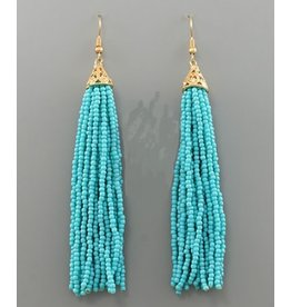Golden Stella 3 in Long Seed Bead Tassel Earrings Turquois
