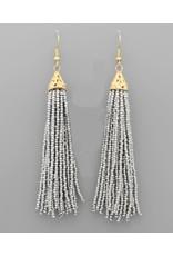 Golden Stella 3 in Long Seed Bead Tassel Earrings Gray