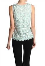 RYU Beaded Rose Crochet Tank Top Mint