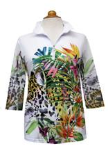 Valentina Signa Zip Front Shapeable Collar Sheer Sleeve Top Jungle Garden