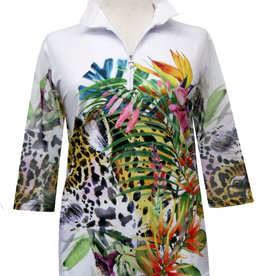 Valentina Signa Zip Front Shapeable Collar Sheer Sleeve Top Jungle Garden