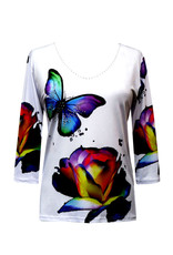 Valentina Signa 3/4 Sleeve Lycra Top Butterfly Flower
