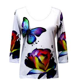 Valentina Signa 3/4 Sleeve Lycra Top Butterfly Flower