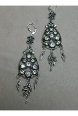 Sharon B's Originals Antique Silver & Crystal Chandelier Earrings