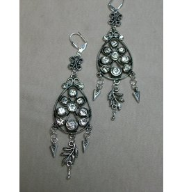 Sharon B's Originals Antique Silver & Crystal Chandelier Earrings