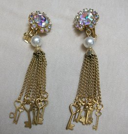 Sharon B's Originals Gold & Crystal Clip-on Chandelier Earrings