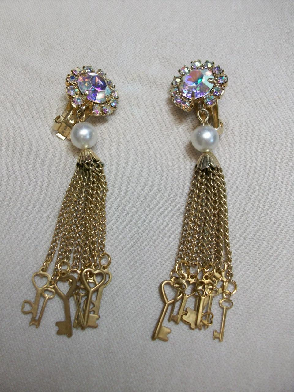 Sharon B's Originals Gold & Crystal Clip-on Chandelier Earrings