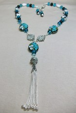 Sharon B's Originals 3 Disk Beads Black & Aqua w/ Silver Tassel Necklace & Earring Set