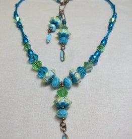 Sharon B's Originals 3 Lime & Aqua Beads w/ Vintage Aqua Drops Necklace & Earring Set