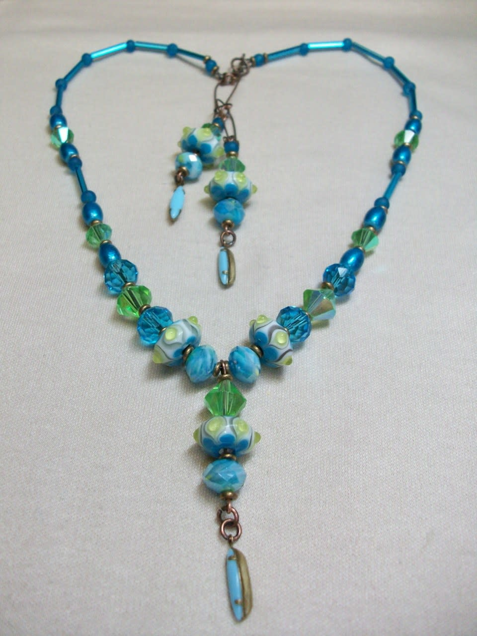 Sharon B's Originals 3 Lime & Aqua Beads w/ Vintage Aqua Drops Necklace & Earring Set
