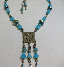 Sharon B's Originals Antique Gold Square Medallion w/ 3 Blue Drops Necklace & Earring Set