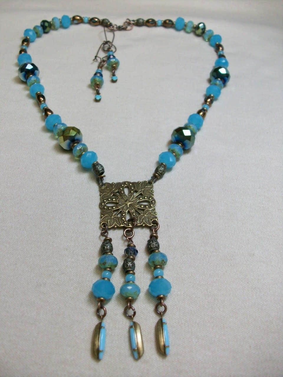 Sharon B's Originals Antique Gold Square Medallion w/ 3 Blue Drops Necklace & Earring Set