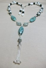 Sharon B's Originals 3 Oval Beads Black & White w/ Silver Tassel Necklace & Earring Set
