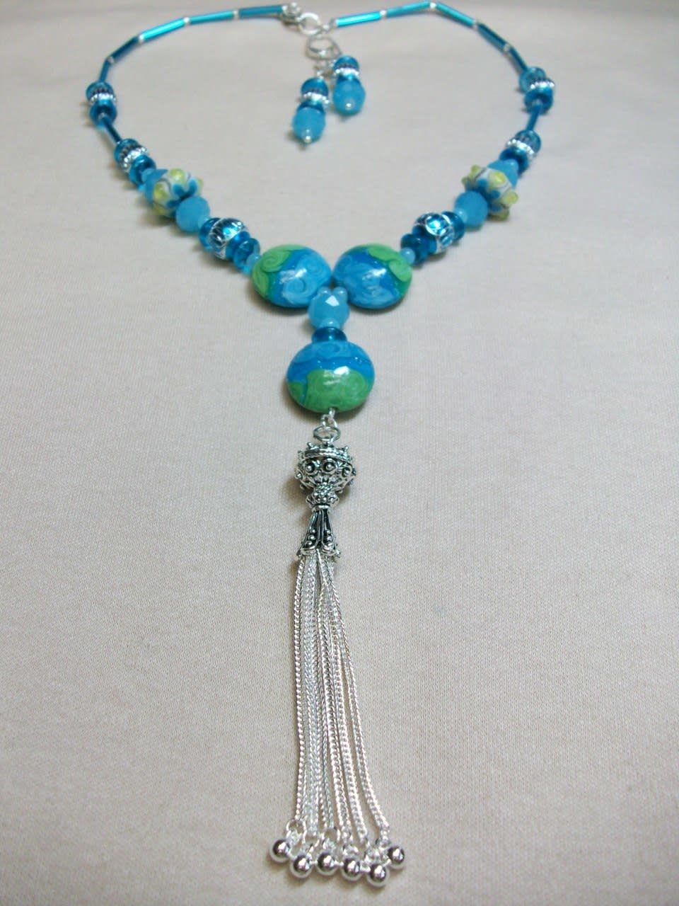 Sharon B's Originals 3 Aqua & Lime Disk Beads w/ Silver Tassel Necklace & Earring Set
