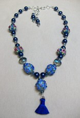 Sharon B's Originals 3 Blue Round Beads w/ Blue Silk Tassel Necklace & Earring Set