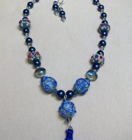 Sharon B's Originals 3 Blue Round Beads w/ Blue Silk Tassel Necklace & Earring Set