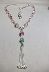 Sharon B's Originals 3 Rose & Pink Sparkle Drops w/ Silver Tassel Necklace & Earring Set
