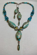Sharon B's Originals 3 Tan & Turquoise Oval Beads w/ Vintage Green Drops Necklace & Earring Set