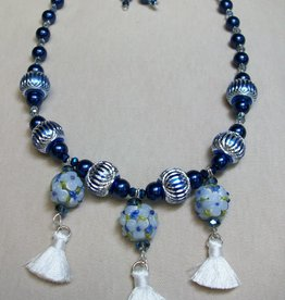 Sharon B's Originals 3 Blue & White Round Beads w/ White Silk Tassels Necklace & Earring Set