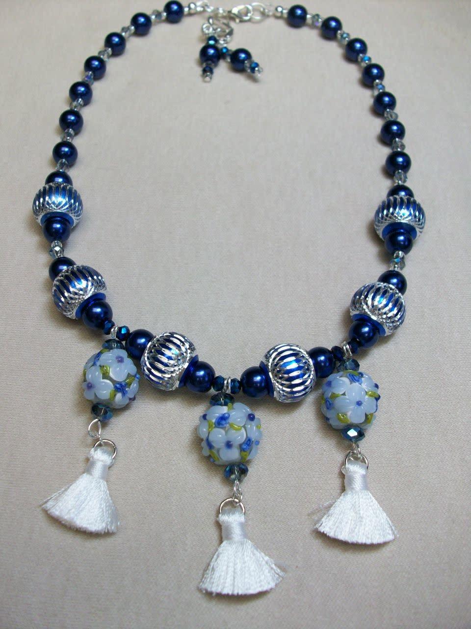 Sharon B's Originals 3 Blue & White Round Beads w/ White Silk Tassels Necklace & Earring Set