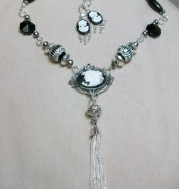 Sharon B's Originals Black & White Cameo's w/ Silver Drops & Tassel Necklace & Earring Set