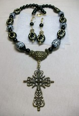 Sharon B's Originals Antique Gold Gothic Cross w/ Black Madonna Beads Necklace & Earring Set
