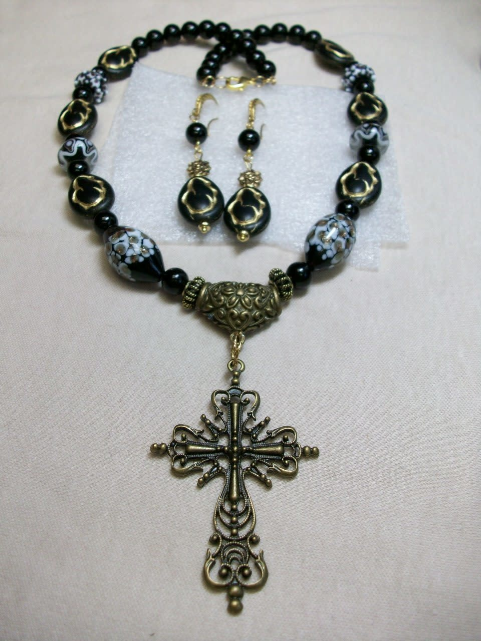 Sharon B's Originals Antique Gold Gothic Cross w/ Black Madonna Beads Necklace & Earring Set