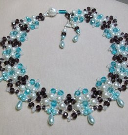 Sharon B's Originals Garden Necklace w/ Aqua Purple & Pale Blue Drops Necklace & Earring Set