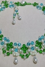 Sharon B's Originals Garden Necklace w/ Aqua Green & Pearl Drops Necklace & Earring Set