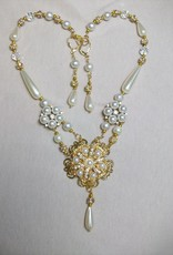 Sharon B's Originals Gold & Crystal Ivory Pearl Button w/ Drop Pearls Necklace & Earring Set