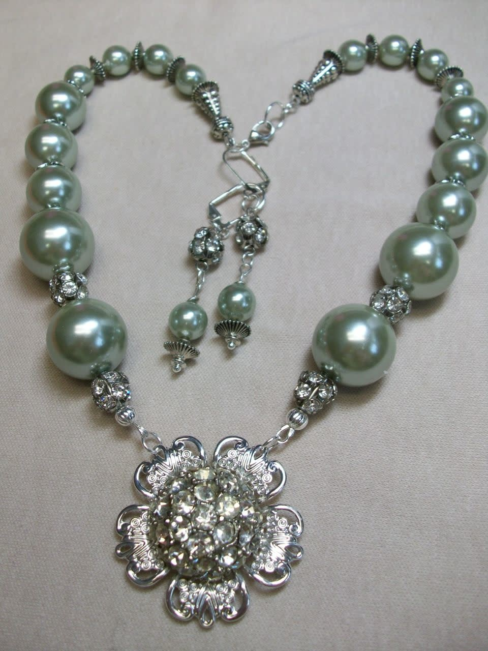 Sharon B's Originals Silver Studded Crystal Button w/ Mint Green Pearls Necklace & Earring Set