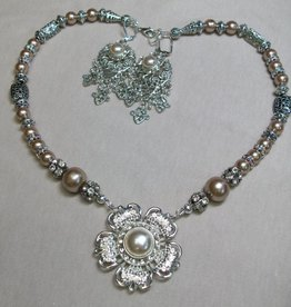Sharon B's Originals Antique Silver Taupe & Crystal Button w/ Drop Earrings & Necklace Set