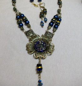 Sharon B's Originals Antique Gold Royal Blue & Gold Button Necklace & Earring Set