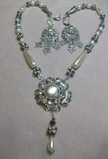 Sharon B's Originals Antique Silver Ivory & Crystal Button w/ Drop Earrings & Necklace Set