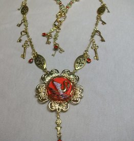Sharon B's Originals Gold Orange Swan & Crystal Drops Necklace & Earring Set