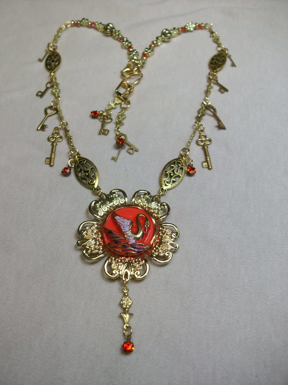 Sharon B's Originals Gold Orange Swan & Crystal Drops Necklace & Earring Set