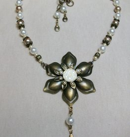 Sharon B's Originals Antique Gold Flower Ivory Button w/ Taupe & Ivory Pearls Necklace & Earring Set