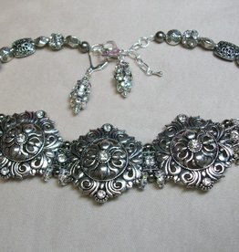 Sharon B's Originals 3 Antique Silver & Crystal Choaker w Adjustible Chain Necklace & Earring Set