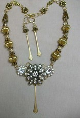 Sharon B's Originals 3 Gold & Crystal w/ Vintage Long Metal Drops Necklace & Earring Set