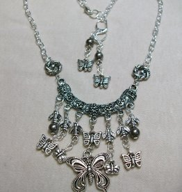 Sharon B's Originals Antique Silver Charm Holder w/ 7 Silver Multi Drops Necklace & Earring Set