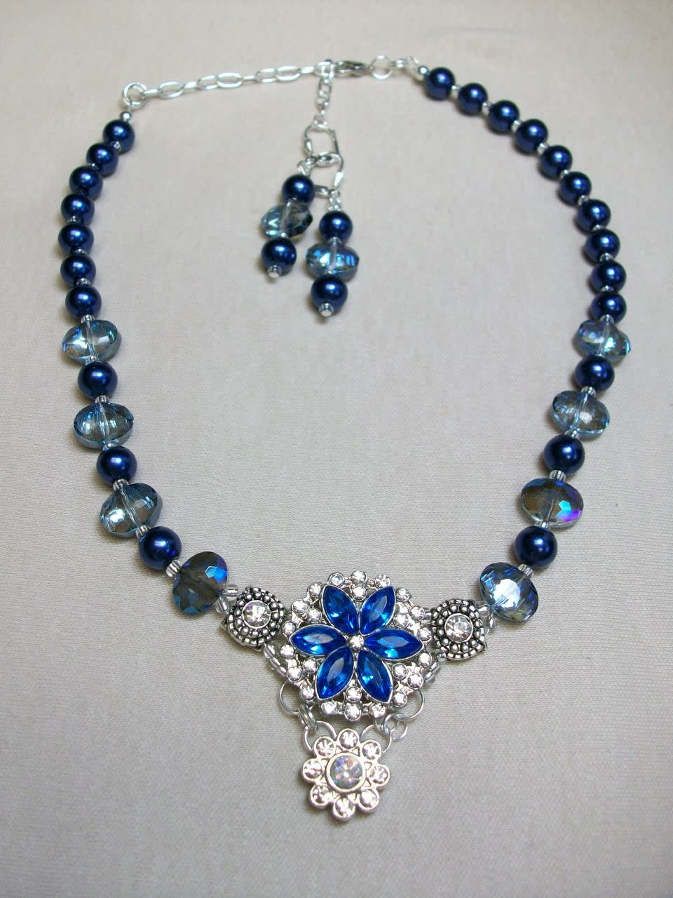 Sharon B's Originals 4 Silver & Royal Blue Crystal w/ Blue Crystal Beads Necklace & Earring Set